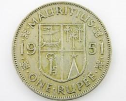 Mauritius silver  one rupee coin CO 2049
