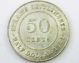 Straits Settlement  50 cents silver .600 coin CO 2053