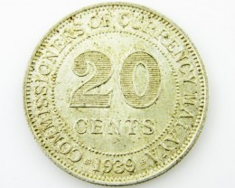 Malaya 20 cents .750 silver coin CO 2056