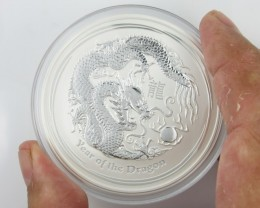 2012  Year Of the dragon Five Ounce Silver Coin BU