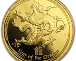2012 Dragon proof one ounce gold coin