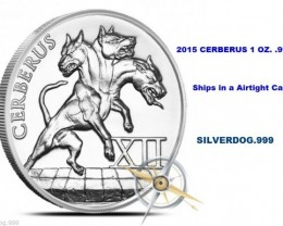 2015 Cerberus<>12 Labors Of Hercules 1 OZ. .999 Silver.