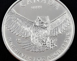 Canadian Great owl .9999 pure silver $5.00