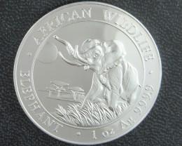 2016 Somalian Sh100 African Elephant 99.9% pure silver one ounce