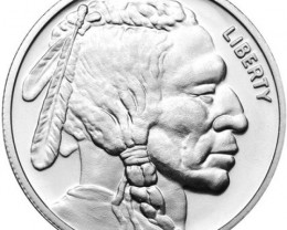 99.9 % pure silver American Buffalo and Indian Head half troy ounce