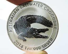 2014Salt water crocodile One  Ounce Silver Coin