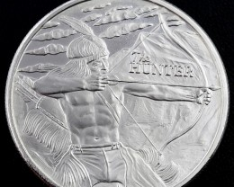 The Hunter one ounce 99.9% pure silver