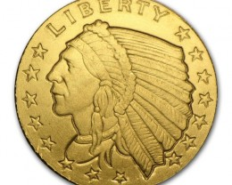 1/10 Round Gold Incuse Indian 1/10th ounce