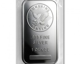 Silver bar Sunshine  mint mark SI one ounce .999 fine silver