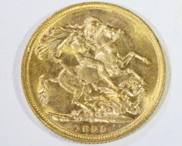 1899 RARE UNCIRCULATED VEIL UK  SOVERIGN  B.P   CO 460