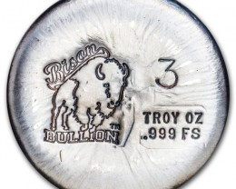 Bison Bullion round 3 Ounce  Hand poured..999 silver