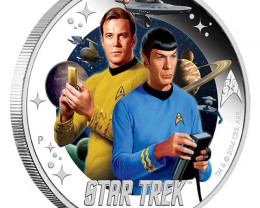 Star Trek JamesT Kirk and Spook one ounce pure silver coin