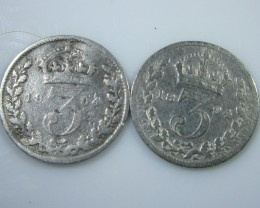 1904 and 1894 threepence .925 silver  j 2210