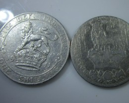 1826 and 1911 One Shilling .925 silver J2211
