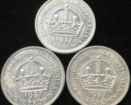 Three Australian One Crown 925 silver coin  CO 2301