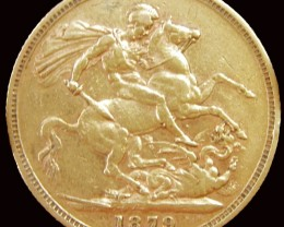 1879 Full Gold Sovereign Victoria Young Head CO2346