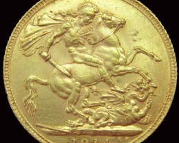 1914 Full Gold Sovereign George V CO2348