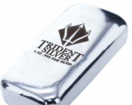 5 ounce Trident  Poured silver bar 99.9% pure silver