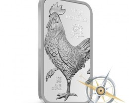 one ounce silver bar 99.9% silver Year of rooster
