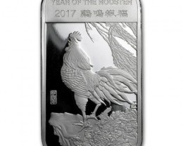 one ounce silver bar 99.9% silver Year of rooster Chinese