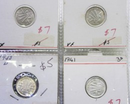 4 Mix  PRE 1946 silver 3 PC coins Co2353
