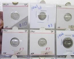 12 Mix  PRE 1946 silver coins Co2354