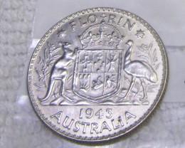 1943 FLORIN UNC  silver coins Co2350