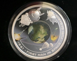 First Man in space Yuri Gagarin  Silver Proof 'Orbital'