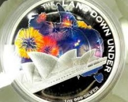 THE LAND DOWN UNDER –SYDNEY  2014 1OZ SILVER PROOF COIN