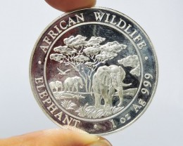 Collector Elephant Somalia Silver .999 coin co 1764