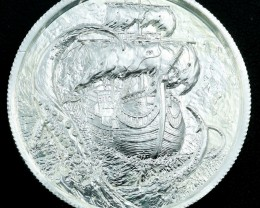 Thee Kraken round 99.9% pure two  silver ounces