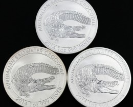 Salt water crocodile  Collectors parcel. 3x one ounce Pure Silver 99.9%