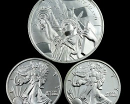Liberty Island Collectors parcel  deal 3 x Pure Silver 99.9%