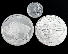 Buffalo & Hunter  rounds Collectors parcel  deal 3 x  Pure Silver 99.9%