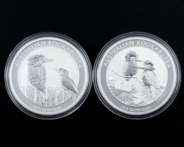 Kookaburra Collectors parcel  2 x  deal Pure Silver 99.9%