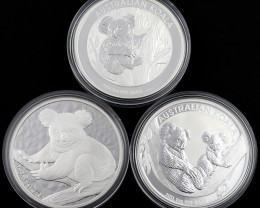 Koala Collectors parcel  deal  3 x Pure Silver 99.9%