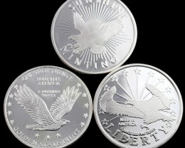 Eagle Rounds Collectors parcel  deal  3 x Pure Silver 99.9%