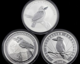Kookaburra Collectors parcel  deal  3 x Pure Silver 99.9%