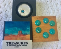 Treasures Turquioise gemstone and  Pure Silver 99.9%