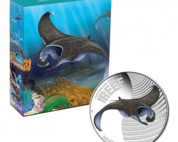 "Sea Life II , The Reef ,"" Manta Ray 2012 1/2oz Silver Proof"