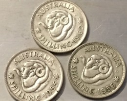 AUSTRALIA LOT 3, 1955-1962  SHILLING COINS 500   SILVERJ 2510