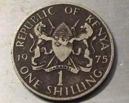 British colonial One Shilling kenya 1975   j 2504