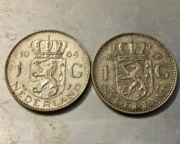 Two coins  1 G HOLLAND SILVER 1958,1964 COIN