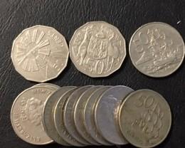 Parcel 13 ps 0.50 cent coins  J 2509