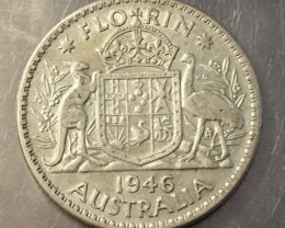 1946 Florin 500 silver coin ,Nice condition   J 2023