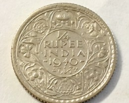First issue 1940 1/4 rupee  silver 500  coin  J 2030