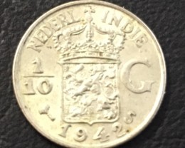 1942 SILVER DUTCH  EAST INDIES1/10 G  COINJ 2031