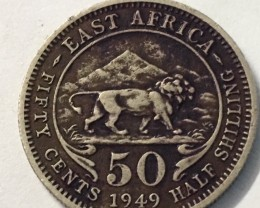 1949 British Colonial east africa 50 cents  J 2035