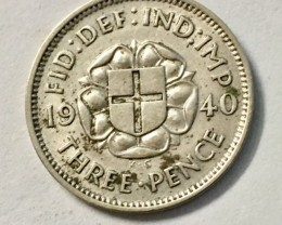 UK  three pence 1940  silver coin J 2038