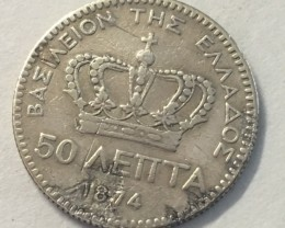 Greece Kingdom fifty lepta 0.835 silver  j 2042